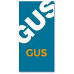 geboortekaartje voor een zoon met de naam gus. Achtergrondkleur in petrolblauw en lichtoranje