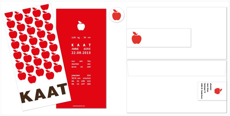 geboortekaartjes appel, geboortekaartjes, enveloppen, adreswikkels en doopsuikerstickers