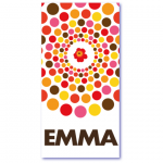 geboortekaartjes pastel met de naam emma. Vrolijke ballen of cirkels of stippen in roze en gele tinten