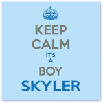 geboortekaartje met strak design en de naam skyler. keep calm it's a boy