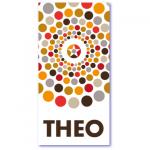 geometrische geboortekaartjes met de naam theo. rondjes in een prachtig evenwichtig patroon