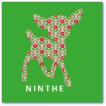 hippe geboortekaartjes ninthe met hertje in een fleurig patroon