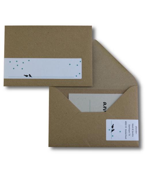 kartonnen trouwkaart adresetiket