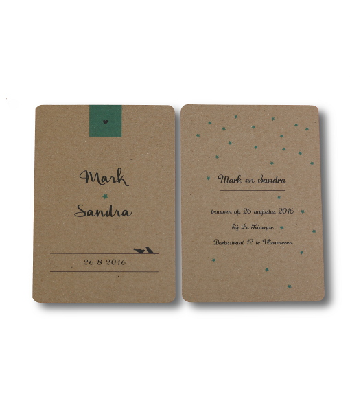 kartonnen trouwkaart