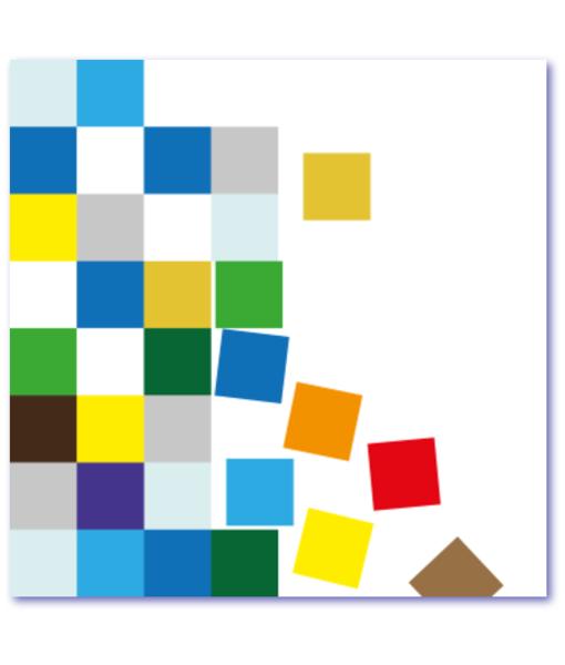 kleurrijk geboortekaartje met vierkantjes is origineel en bijzonder