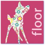 lieve geboortekaartjes met hertje / bambi en de naam floor. In vrolijk bloemetjes patroon