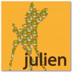 lieve geboortekaartjes met de naam julien. lief hertje in een retro patroon op de voorzijde van jullie originele geboortekaartje: less is more