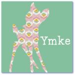 geboortekaartjes hertje met de naam ymke. Lief geboortekaartje met een hertje in een speels patroon.