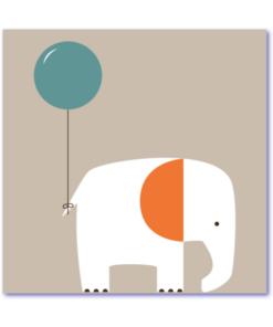 moderne geboortekaartjes met olifantje en gekleurde ballon aan staart, geboortekaartje voor een jongen