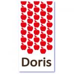 origineel geboortekaartje met de naam doris. Rode appeltjes in een herhaald patroon op deze originele geboortekaart