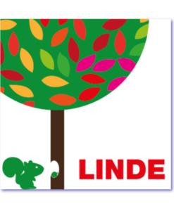 originele babykaart met eekhoorn, boom en de naam Linde. Een strak design voor in de zomer, winter, herfst of lente. Kaartje wordt aangepast naar het seizoen waarin jullie dochter of zoon wordt geboren.