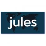 originele geboortekaarten met de naam jules. Een uniek geboortekaartje in de kleuren donkerblauw en in silhouette de wereldkaart afgebeeld