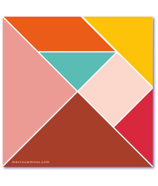 strakke geboortekaartjes met tangram puzzel
