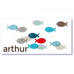 trendy geboortekaartje met de naam arthur. Transparante visjes in de kleuren blauw, grijs en rood prijken op de voorzijde van dit originele geboortekaartje