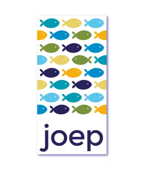 trendy geboortekaartje met de naam joep. De nieuwste trend in geboortekaartjesland. kleurrijke visjes / gupjes