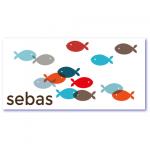 trendy geboortekaartje met de naam sebas met transparante visjes in blauwe en rode tinten